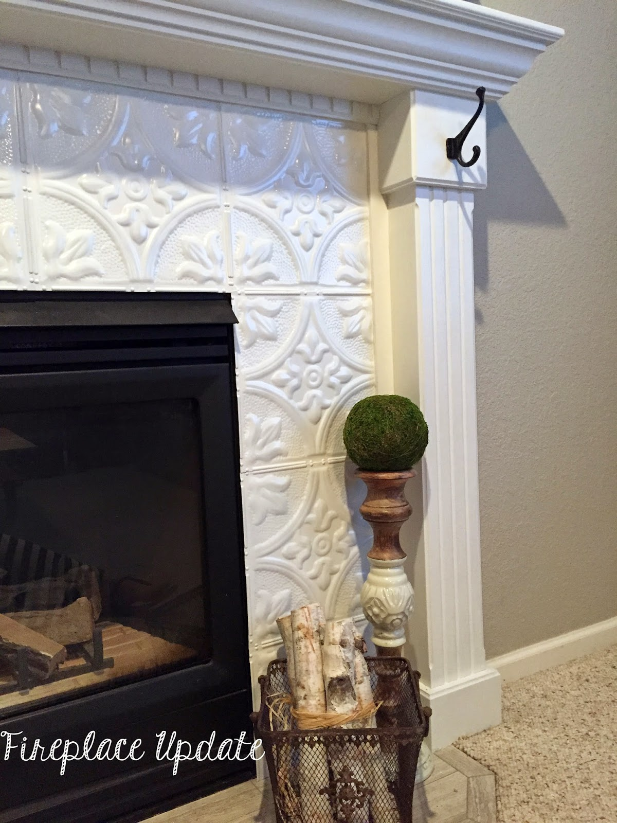 Naughton your life fireplace makeover with tin tile - Floor to ceiling brick fireplace makeover ...