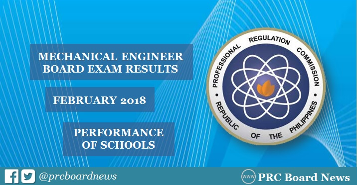February 2018 Mechanical Engineer ME, CPM board exam result: performance of schools