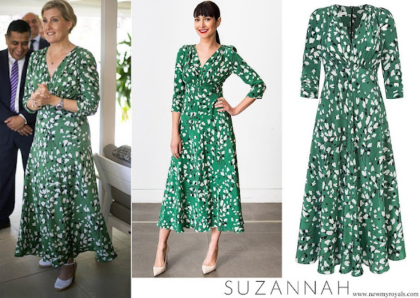 Countess of Wessex wore Suzannah stormy hearts longer midi tea dress