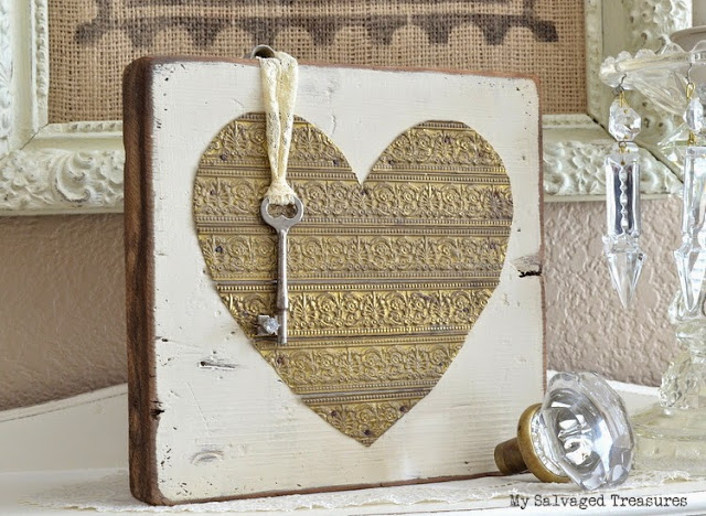 Rustic heart made with salvaged wood and vintage lamp banding