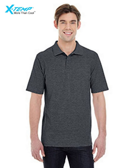 Hanes 055P Mens X-Temp Pique Short-Sleeve Polo- Charcoal Heather – S