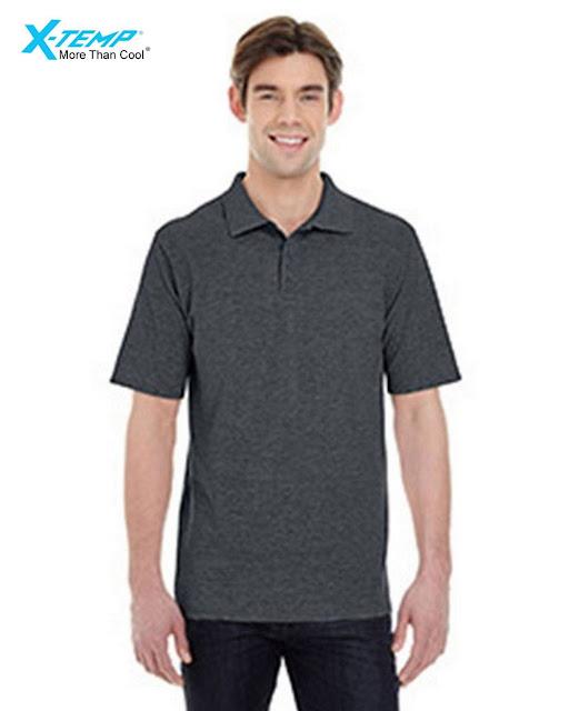 Hanes 055P Mens X-Temp Pique Short-Sleeve Polo- Charcoal Heather – S