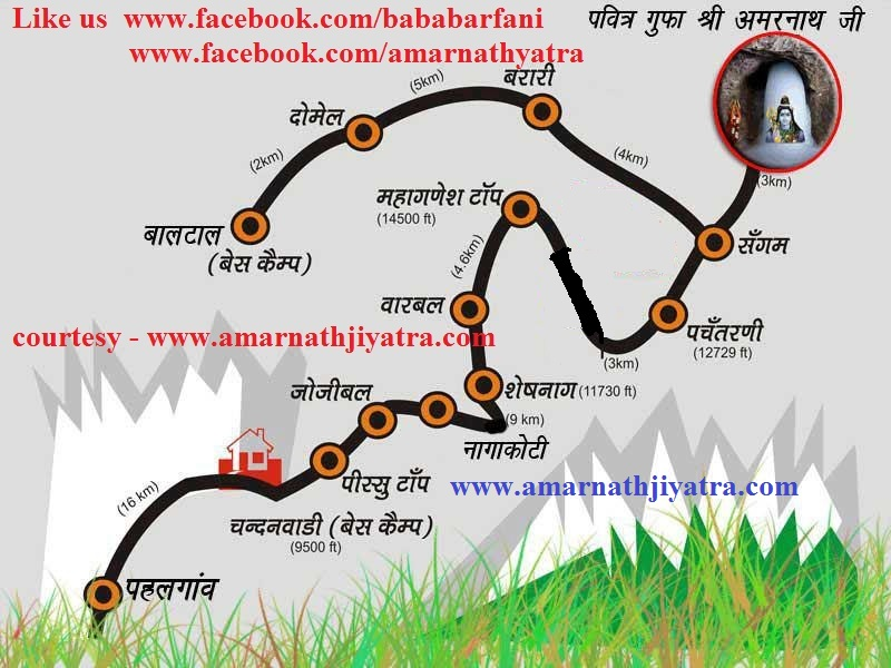 Amarnath Yatra Route Map Amarnath Yatra 2016: Amarnath Yatra 2016 Route Map