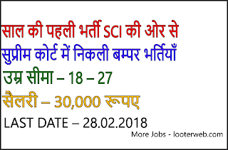 Supreme Court Of India Recruitment Of Clerk 2018, Apply Now