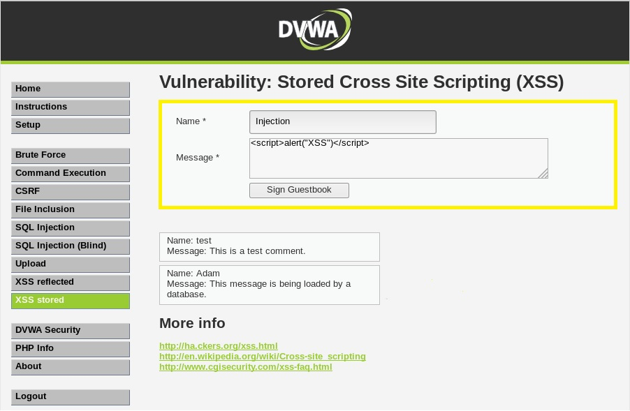 Executing Stored Cross Site Scripting (XSS) Attacks