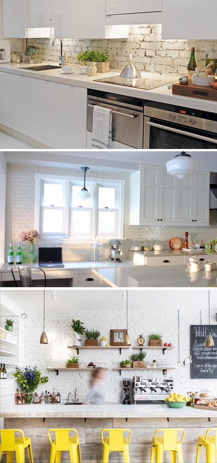 decoração cozinha com tijolinhos