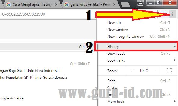 gambar Cara Menghapus History Atau Riwayat Penelusuran di Google Chrome Versi baru