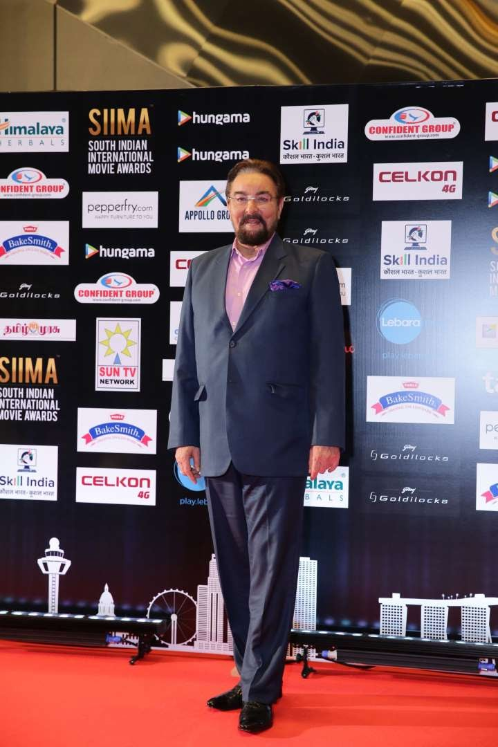 Bollywood actor Kabir Bedi poses for photographers upon arrival at SIIMA
