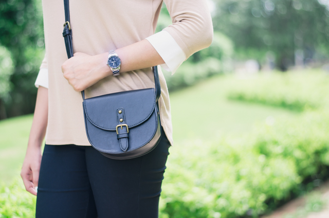 Forever 21 black saddle bag and casio watch