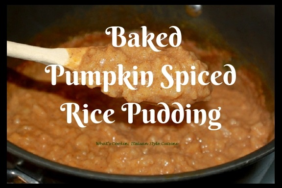 this is a rice pudding with pumpkin and spices cooking on the stove top then baked then garnished with whipped cream and cinnamon sticks and a dash or cinnamon and sugar on top