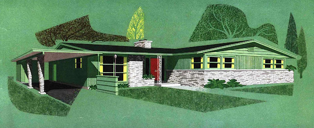 a 1955 architectural promotional illustration with stylized trees