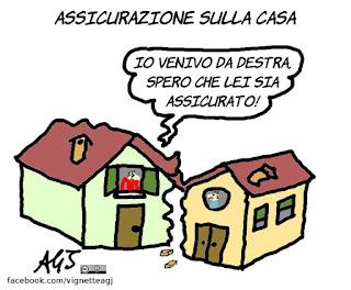 casa, terremoto, assicurazione, ricostruzione, vignetta, satira