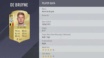 .KEVIN DE BRUYNE fifa 18