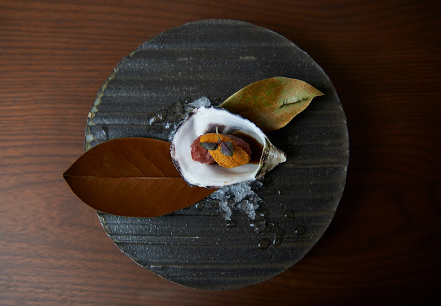 image of Kumamoto Oyster Wrapped with Washyugyu and California Sea Urchin by Naoko Takagi