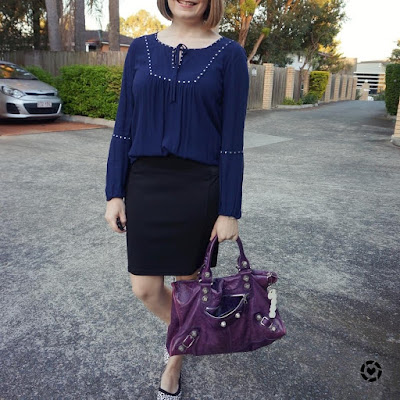awayfromblue Instagram navy studded peasant blouse pencil skirt purple Balenciaga bag autumn office outfit