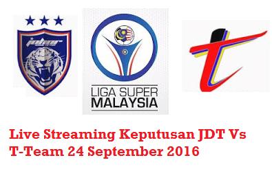 Keputusan JDT Vs T-Team 24-9-2016
