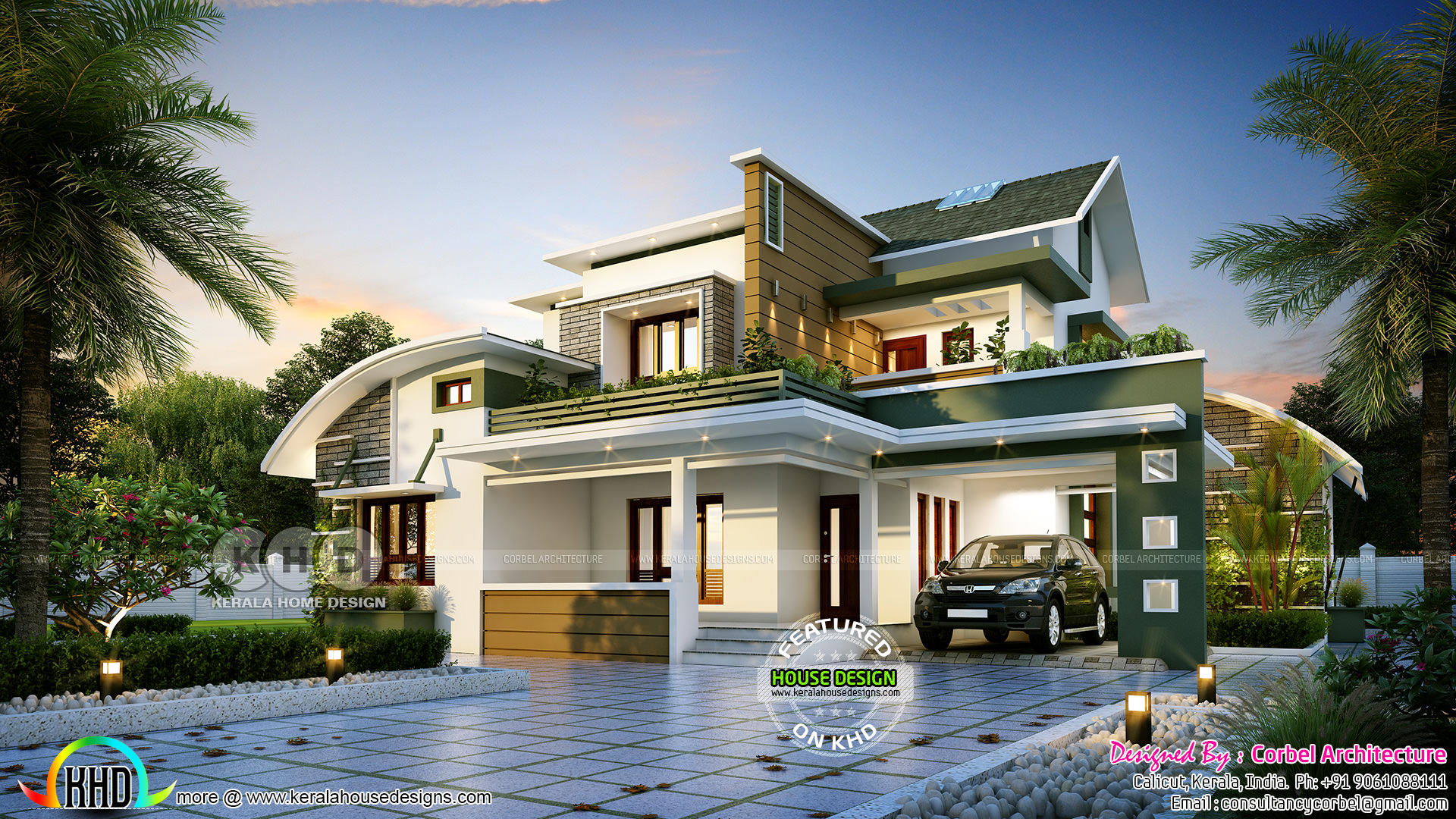 Attractive 4 Bedroom Curved Roof Mix Contemporary Home Part - 3: 2771 Sq-ft 4 Bedroom Curved Roof Mix Contemporary Home