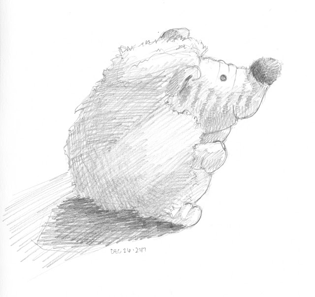Daily Art 12-26-17 still life sketch in graphite number 84 - new hedgehog toy