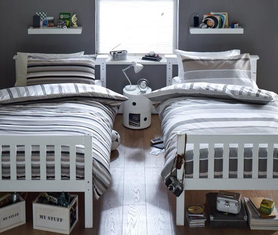 غرف نوم ولدين كبار بسريرين اوضة ضيقة ونظام جيد , لون رصاصي , وبترولي