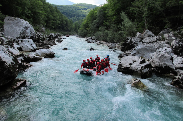 Rafting down the Emerald River - Triglav National Park, Slovenia