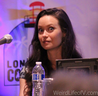 Summer Glau looking wide-eyed during the Firefly reunion panel at LBCC 2016