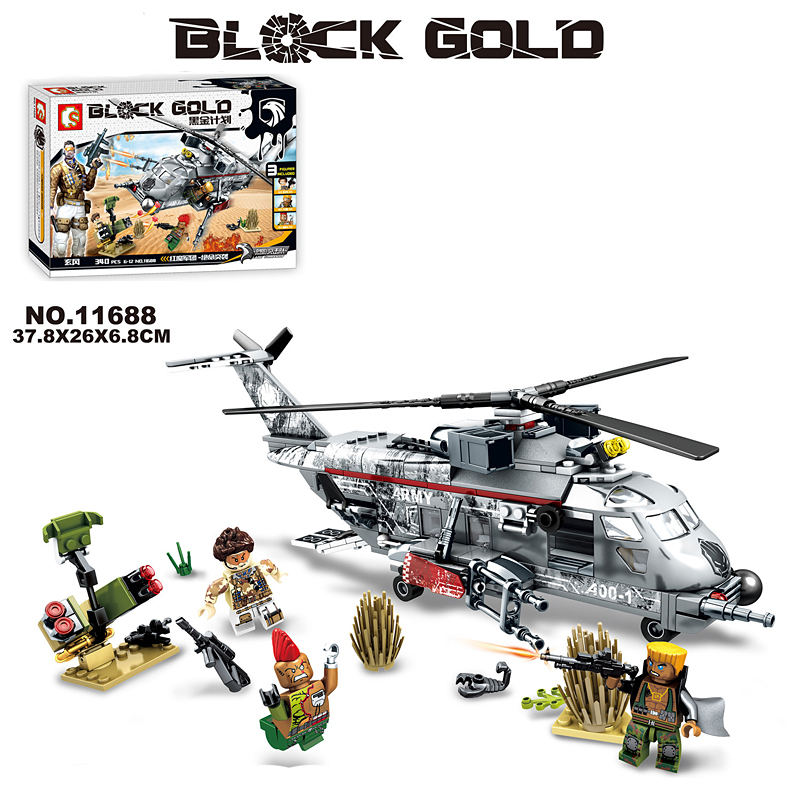 downtheblocks: Sembo 11688: Block Gold Army Helicopter Preview