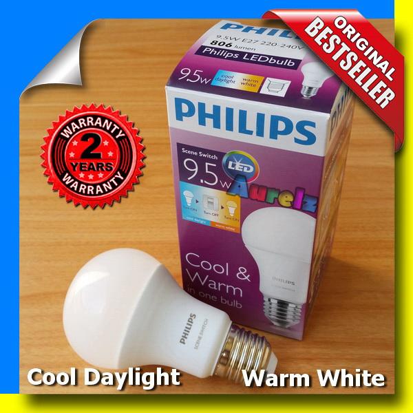 lampu led philips scene switch 9.5 watt 2 in 1