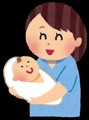 出産のイラスト「赤ちゃんとお母さん」