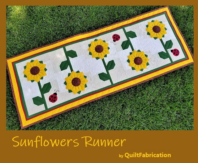 Sunflowers Runner pattern by QuiltFabrication