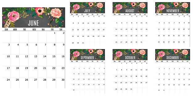 2018 free printable calendar, watercolor calendar