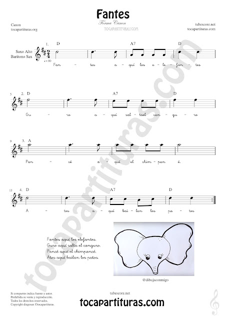 Saxofón Alto y Sax Barítono Partitura de Fantes Sheet Music for Alto and Baritone Saxophone Music Scores