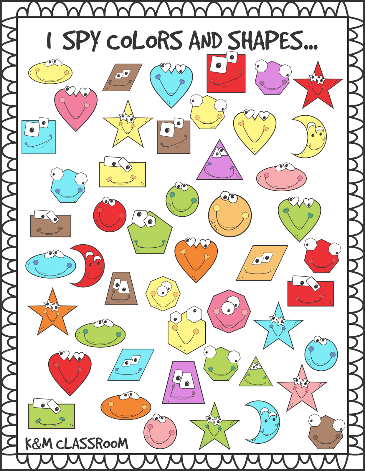 graphic relating to Shapes Printable called KM Clroom: I Spy Styles