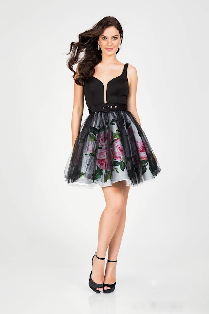 Little Black Dress with Rose Flowers For Valentine's Day