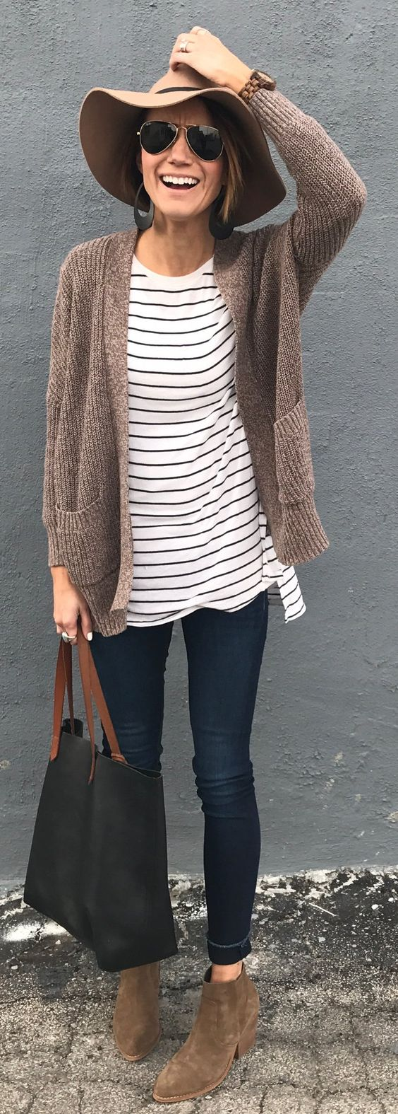 outfit of the day | stripped top + knit cardi + bag + jeans + boots