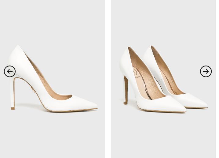 Baldowski - Pantofi cu toc albi de firma din piele