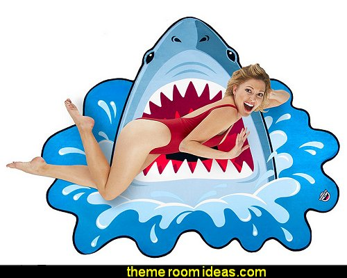 Gigantic Shark Beach Blanket  Gift ideas - Shark Bedrooms - shark murals - shark bedding  - Shark Decor - shark wall decals - shark theme bedroom decorating ideas - surf shack bedrooms - nautical bedrooms - 3d shark wall decorations - surfing theme bedrooms