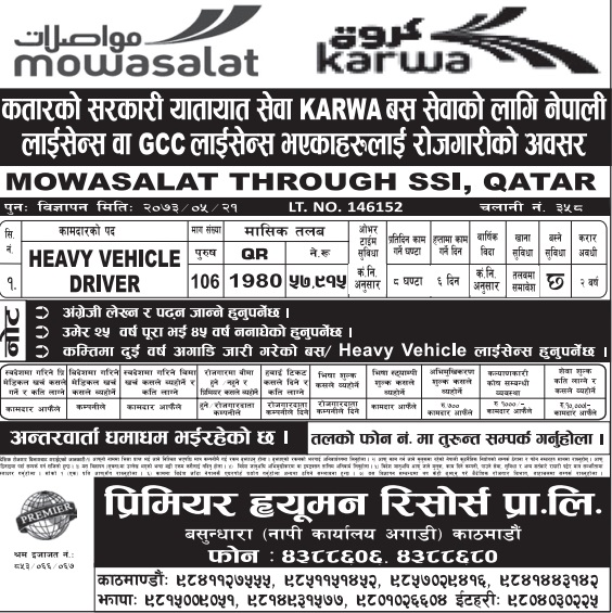 Free Visa, Free Ticket Jobs For Nepali In Qatar Salary- Rs.57,915/