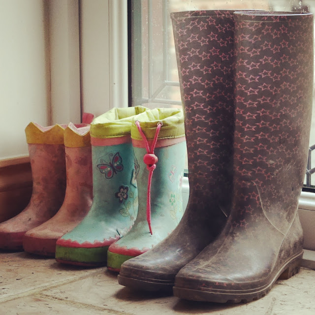 rain boots ready and waiting
