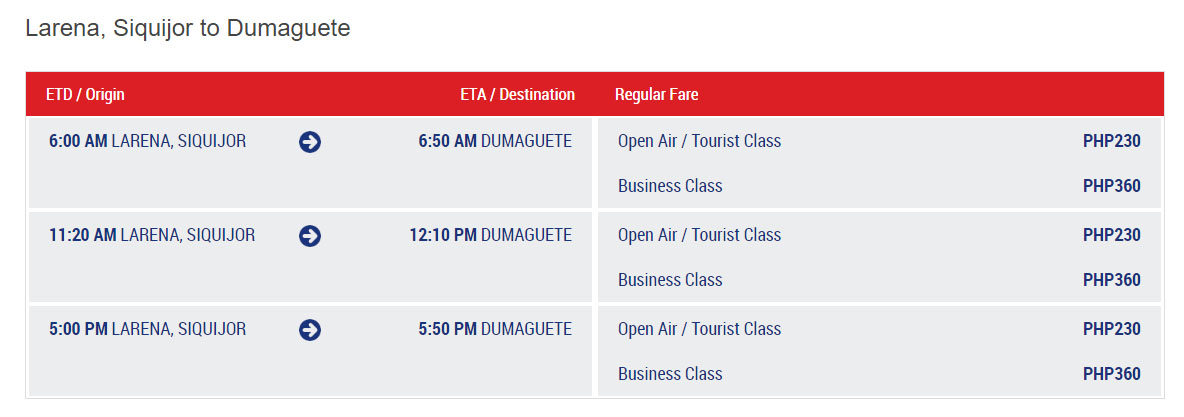 Dumaguete To Siquijor Ferry Schedule And Fare Rates