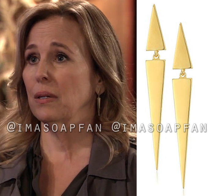 Laura Collins, Genie Francis, Double Triangle Drop Earrings, General Hospital, GH