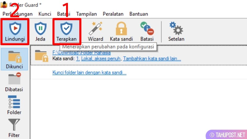 Mengaktifkan kunci folder dengan password