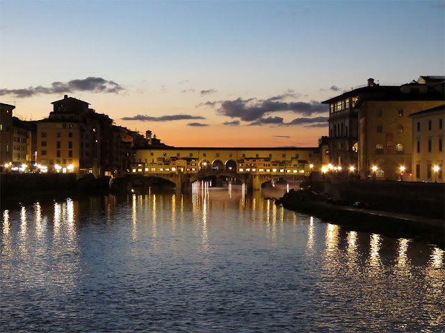 Ponte Vecchio at dusk, seen from the Ponte alle Grazie, Florence