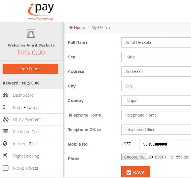 How to create account in iPay Nepal-- home page iPay Nepal