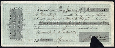 Rothschild check Jerusalem Valero bank in Austro-Hungarian krone