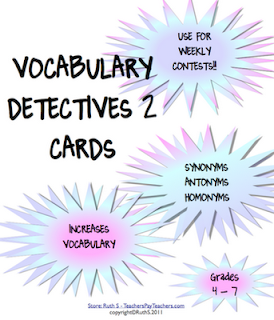 Vocabulary Detectives 2, Ruth S, antonyms, synonyms, homonyms, vocabulary, free, detective jar, word study,