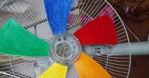 Craft Amp Creativity Paint Fan Blades To Get A Rainbow Effect