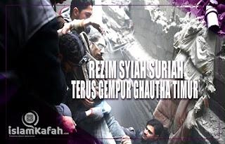 Rezim Syiah Suriah Terus Gempur Ghouta Timur