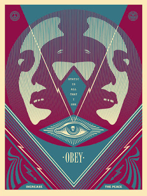 """I See Static"" Obey Giant Blue Edition Screen Print by Shephard Fairey"
