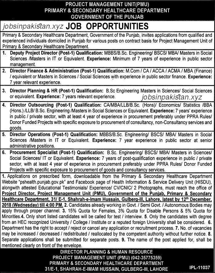 Advertisement for PMU Jobs 2018