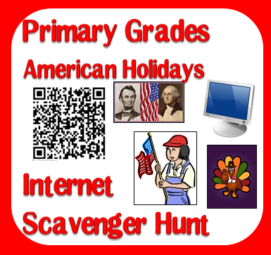 Free primary grades internet scavenger hunt on American holidays like Memorial Day, Thanksgiving, Fourth of July and Vetrans Day - includes a QR Code version from Raki's Rad Resources.